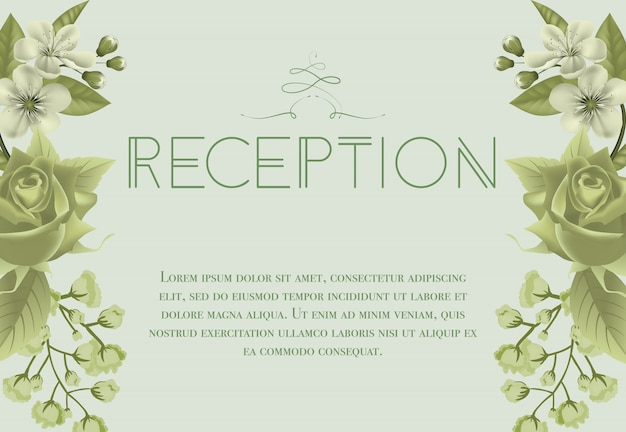 Wedding reception card with blossoms, rose and\ lily of valley