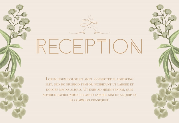 Wedding reception card with iris and lily of\ valley.