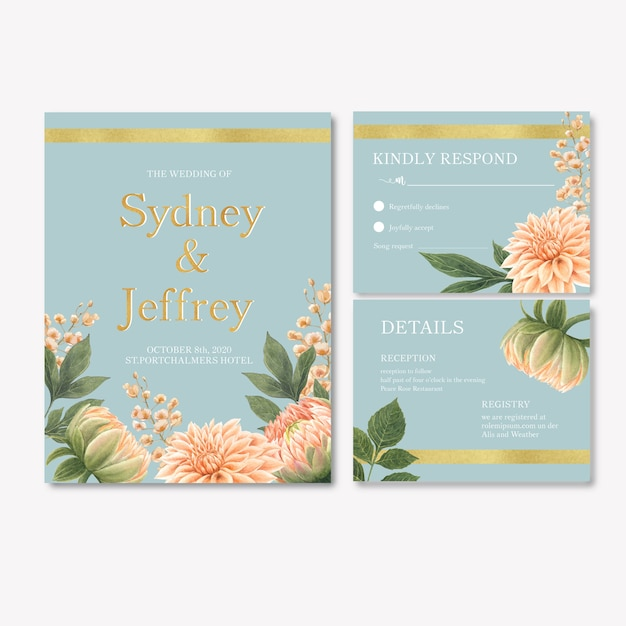 Wedding reception flowers with pastel leafage Free Vector