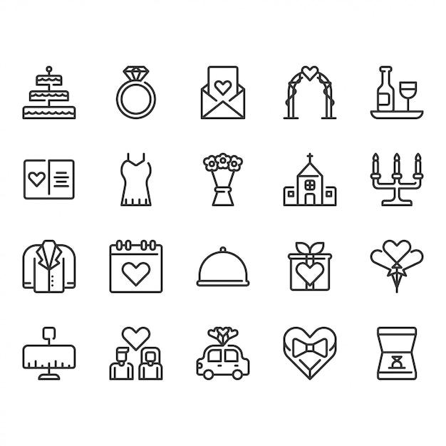 Wedding related icon set Premium Vector