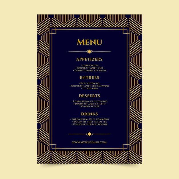 Шаблон меню свадебного ресторана Бесплатные векторы