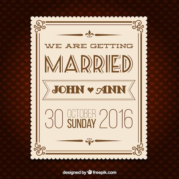 wedding retro invitation card vector free download
