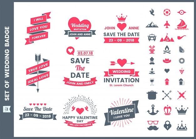 Wedding retro romantic badge, icons and elements set for san valentine Premium Vector