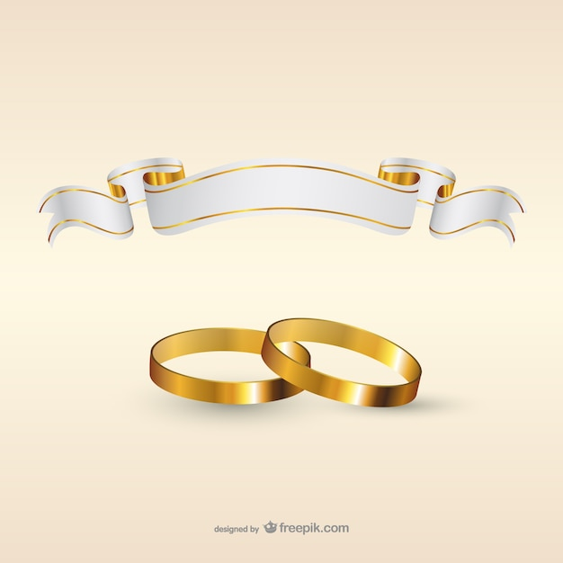 Wedding rings and ribbon flag Free Vector