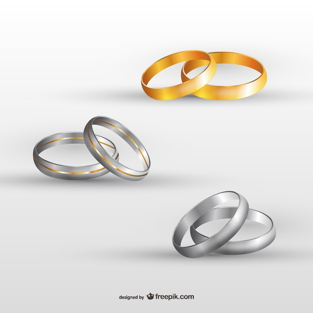 Wedding rings set Vector Free Download