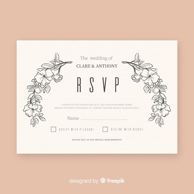 Wedding rsvp card Free Vector