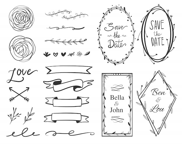Wedding save the date ornament frame label collection set. collection of swirl, arrow, banner, and floral frame. Premium Vector