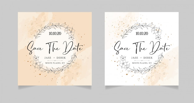 Wedding save the dates card Premium Vector