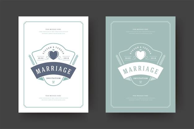 結婚式は、日付の招待カードのイラストを保存します Premiumベクター
