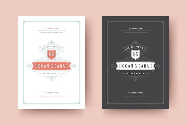結婚式は日付を保存します招待状は装飾品を繁栄させます Premiumベクター