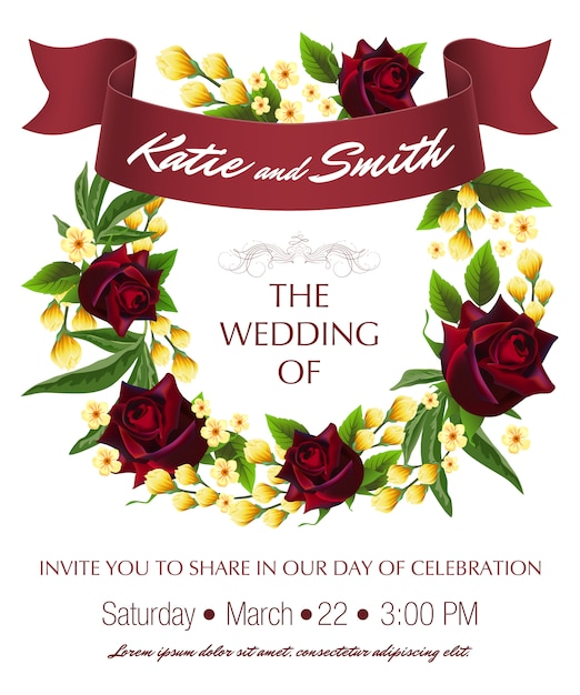 wedding save the date template with roses yellow floral wreath and