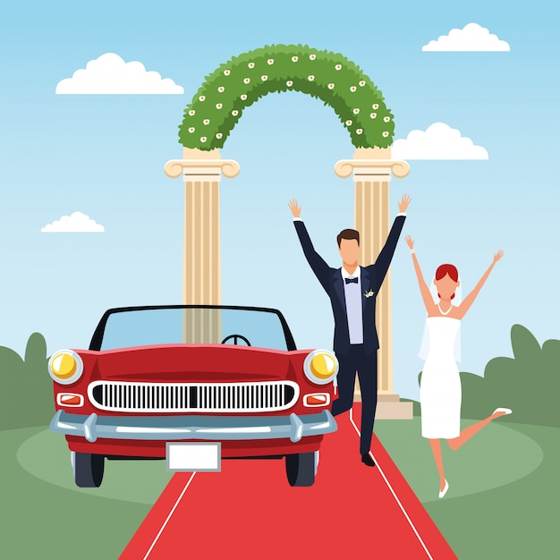 Wedding scene with excited married couple and red classic car Premium Vector