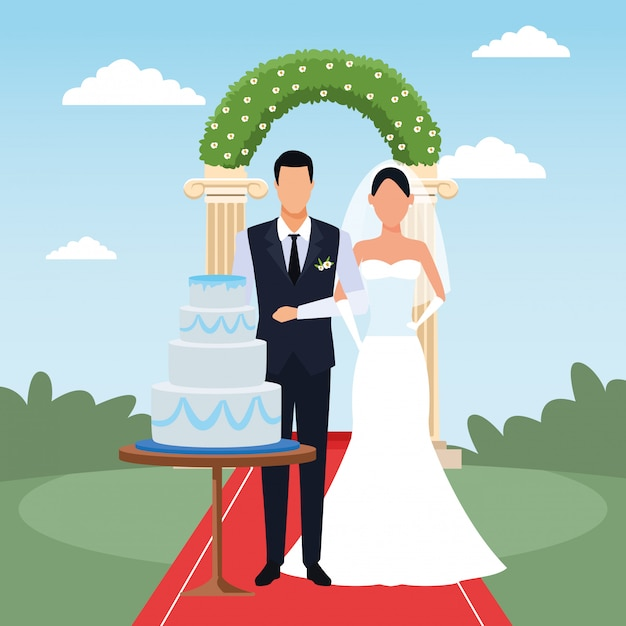 Wedding scenery with just married couple with wedding cake and floral arch Premium Vector