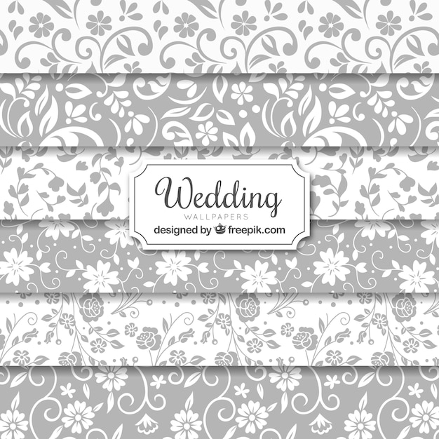Wedding seamless backgrounds collection Free Vector