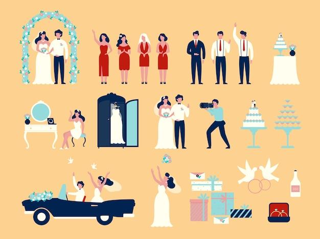 結婚式セット。新郎と新婦の白いドレスのカップル Premiumベクター