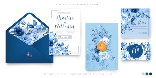 Wedding set template in classic blue Free Vector