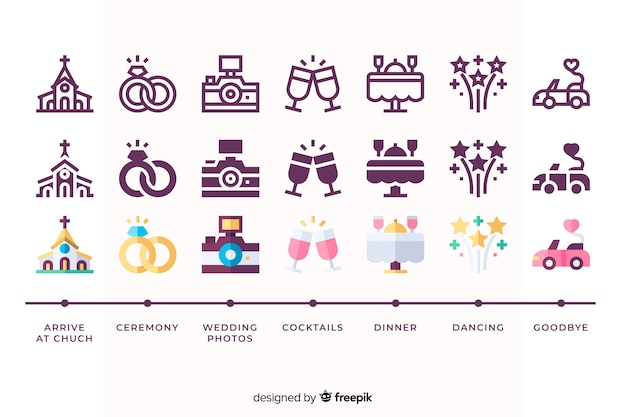 Wedding set with cute illustrations Free Vector