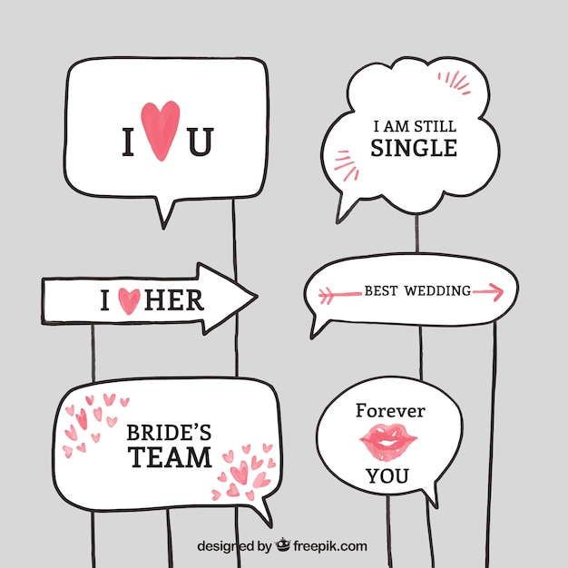 Wedding Signs With Red Details For Photo Booth Vector Free Download