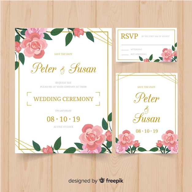 Wedding stationary template floral design Free Vector