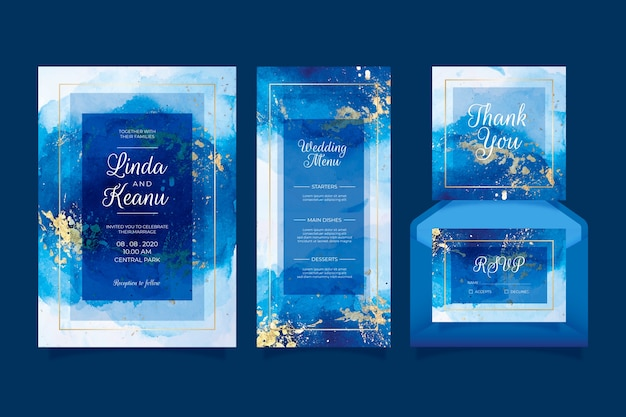 Wedding stationery concept Free Vector