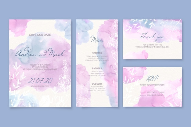 Wedding stationery and envelope in watercolour style Free Vector