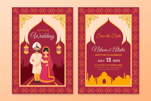 Свадебные канцтовары для индийской пары с иллюстрациями Premium векторы