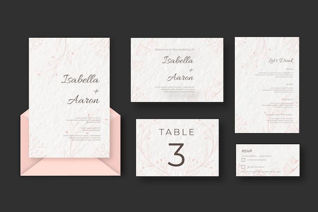 Wedding stationery set template Free Vector