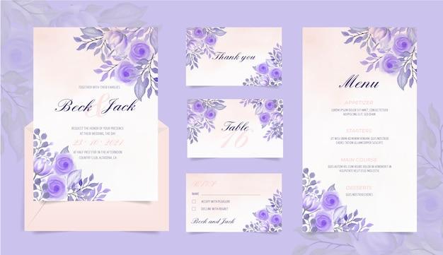 Свадебный канцелярский набор с акварельными цветами Бесплатные векторы