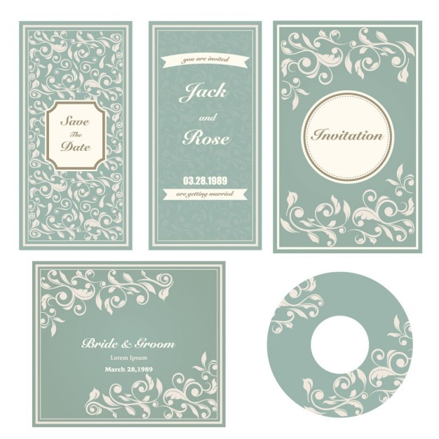 wedding stationery set free vector