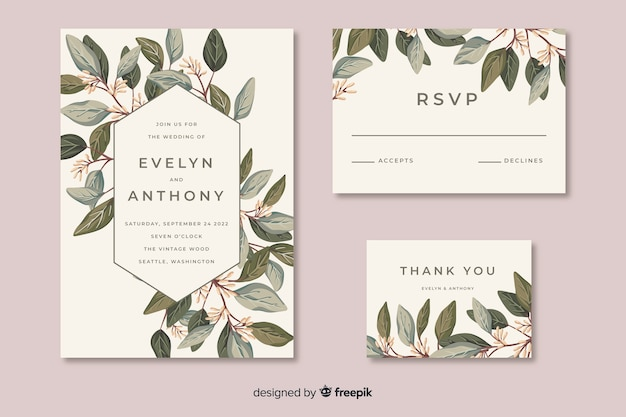 Wedding stationery template in flat desig Free Vector