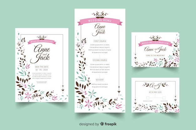 Wedding stationery template flat design Free Vector
