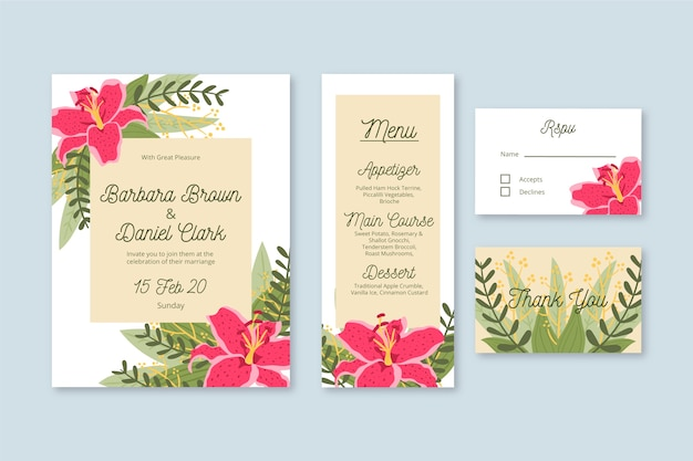Wedding stationery template with flowers Free Vector