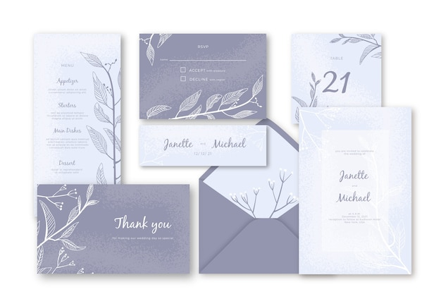 Wedding stationery template Free Vector