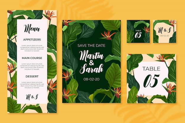 Wedding stationery templates Free Vector