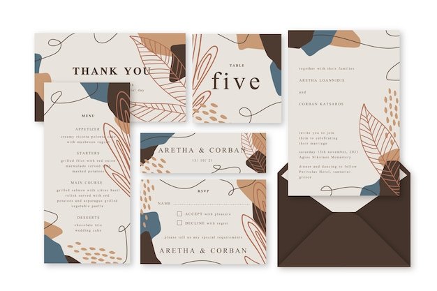 Wedding stationery terracotta template Free Vector