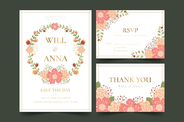 Wedding stationery with floral design Free Vector