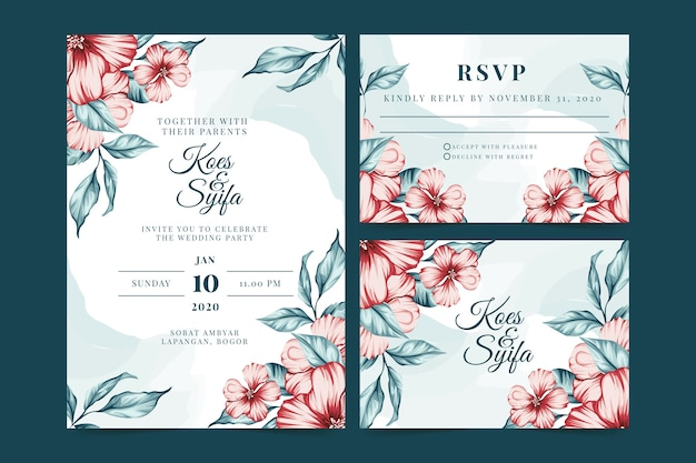 Wedding stationery with red flowers Free Vector