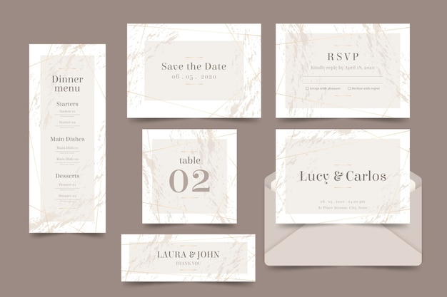 Wedding stationery Free Vector