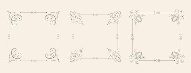 Insieme decorativo dei bordi della struttura floreale di stile di nozze Vettore gratuito