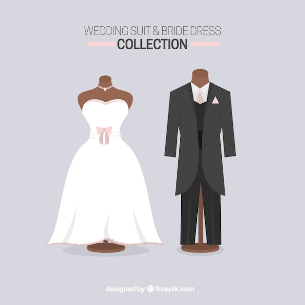 wedding suit and bride dress vector free download