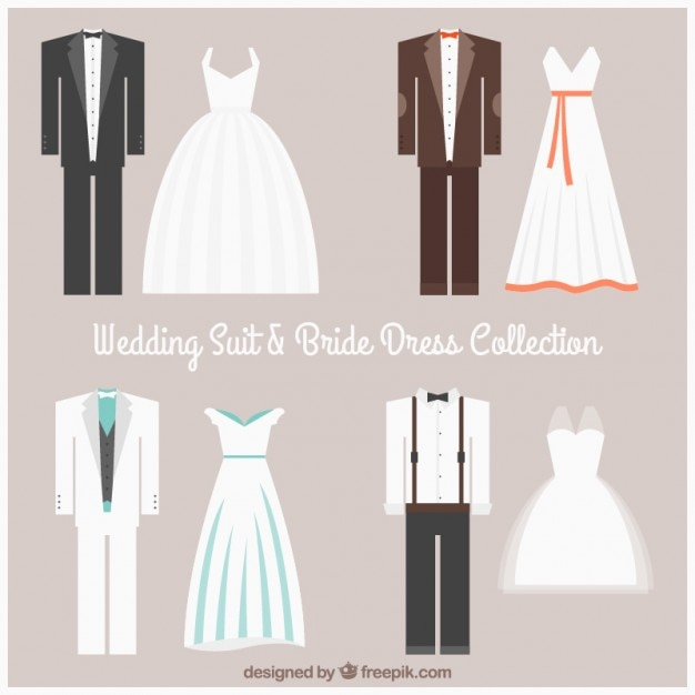 Wedding suit and bride dress collection Free Vector