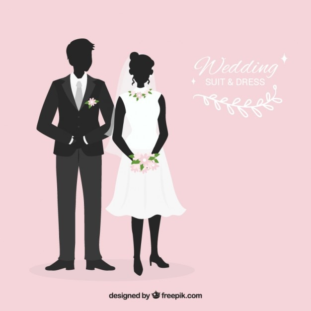 Wedding suit and bride dress silhouettes Free Vector