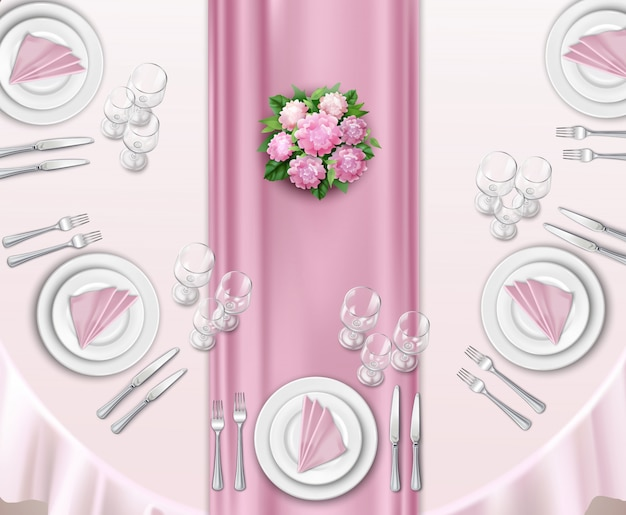 Wedding table set up Free Vector