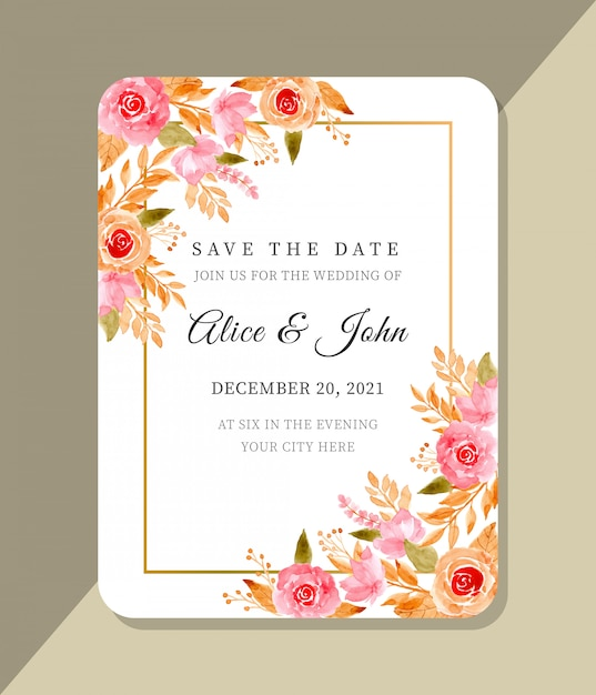 Wedding template with floral watercolor Premium Vector