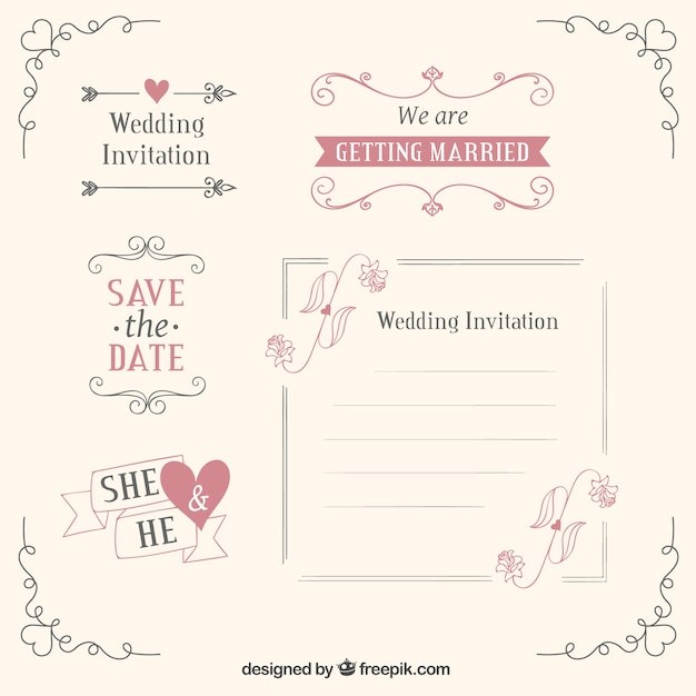 Wedding templates and decoration Free Vector