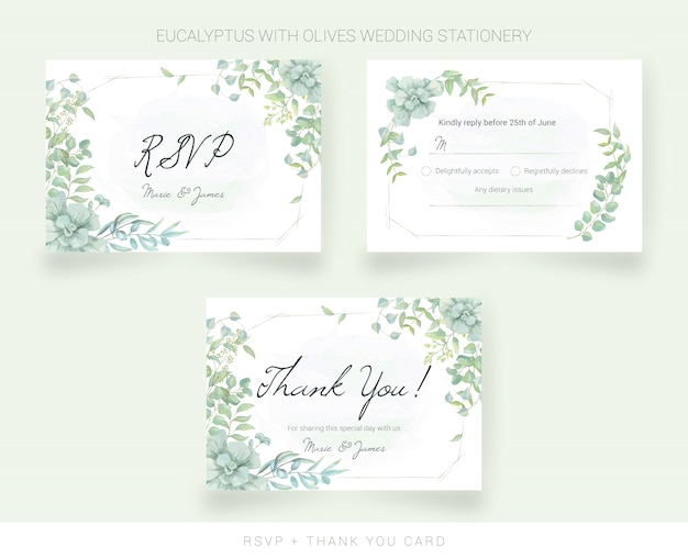 Wedding thank you card and rsvp with watercolor leaves Premium Vector