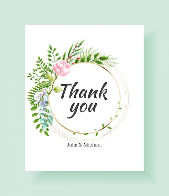 Wedding thank you card template. vector watercolor flowers, lily, ivy plants  Premium Vector