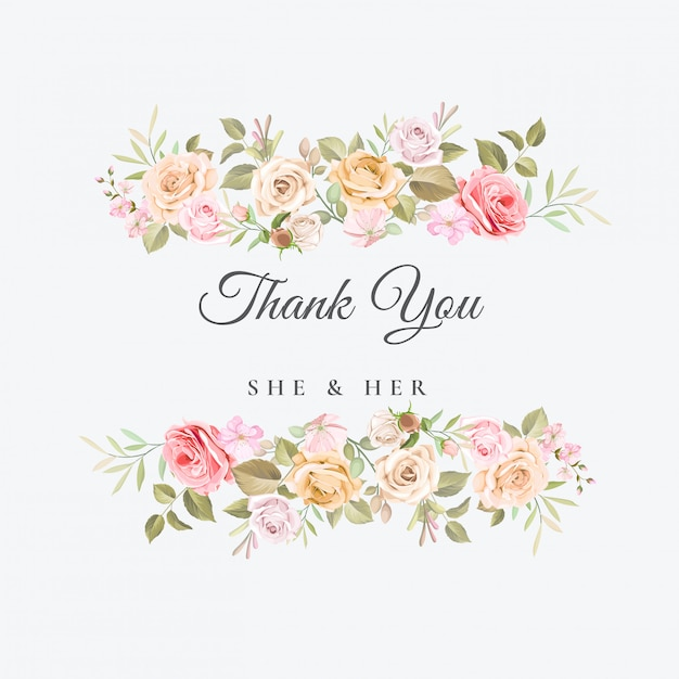 Wedding thank you card with beautiful floral template Vector  Premium Download