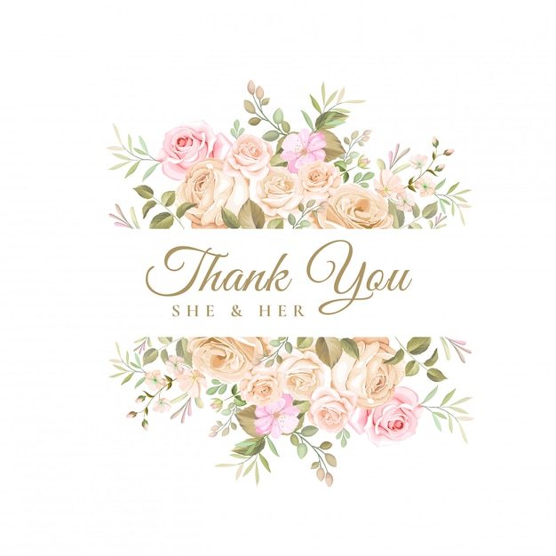 Wedding thank you card with beautiful floral template ...