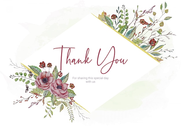 Wedding thank you card with watercolor flowers Premium Vector